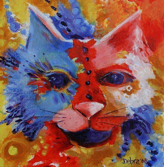 Art: Colorful Cat by Artist Deb Harvey