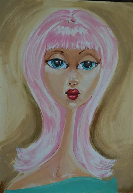 Art: Big Eyed Pink Hair by Artist Noelle Hunt