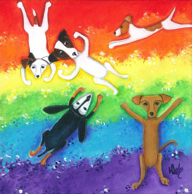 Art: Happy Rainbow In The Sky Party by Artist Deb Harvey