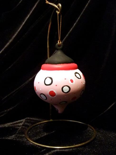 Art: Olivia the Pig inspired Pink Black White and Red Ornament No. 1 by Artist Noelle Hunt