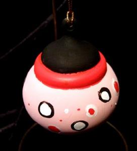 Detail Image for art Olivia the Pig inspired Pink Black White and Red Ornament No. 1