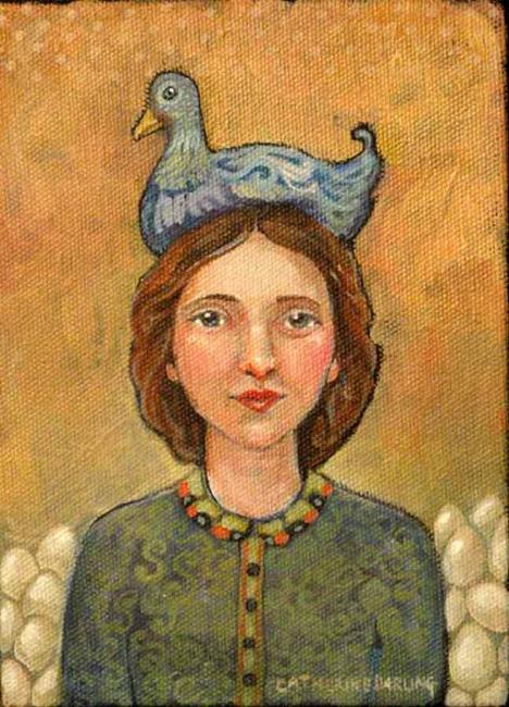 Art: Blue Cluck Hat by Artist Catherine Darling Hostetter