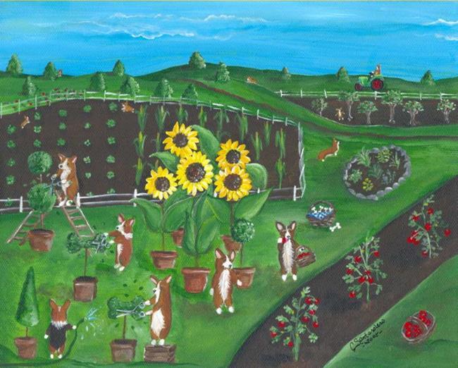 Art: Little Gardeners by Artist Cathy Santarsiero