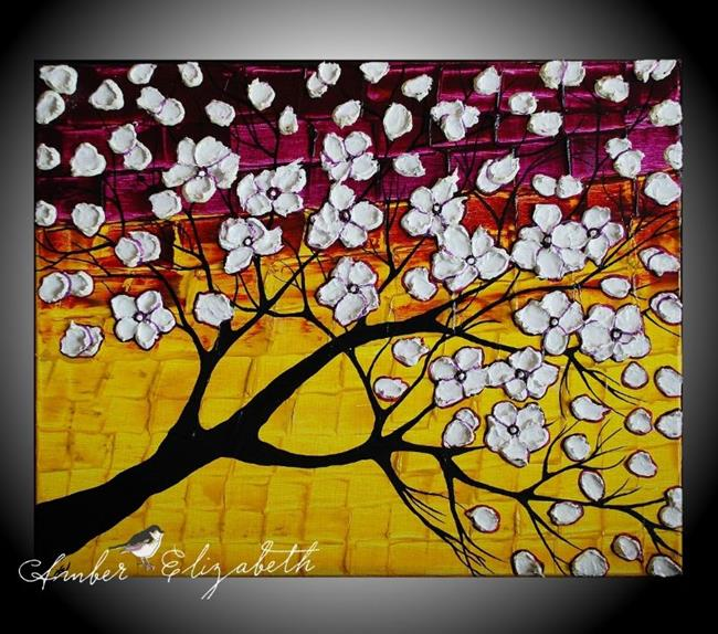 Art: White Blossoms on Plum Gold (sold) by Artist Amber Elizabeth Lamoreaux