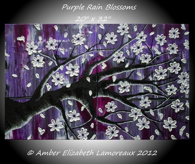 Art: Purple Rain Blossoms (sold) by Artist Amber Elizabeth Lamoreaux