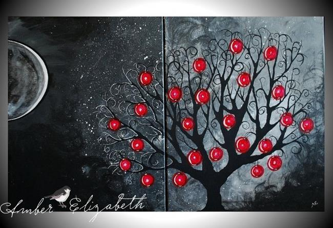Art: Red Lantern Tree (sold) by Artist Amber Elizabeth Lamoreaux
