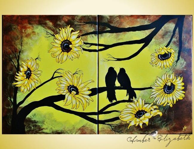 Art: I Love You (With and Without Sunflowers) (Sold) by Artist Amber Elizabeth Lamoreaux
