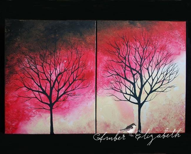 Art: Two Trees (sold) by Artist Amber Elizabeth Lamoreaux