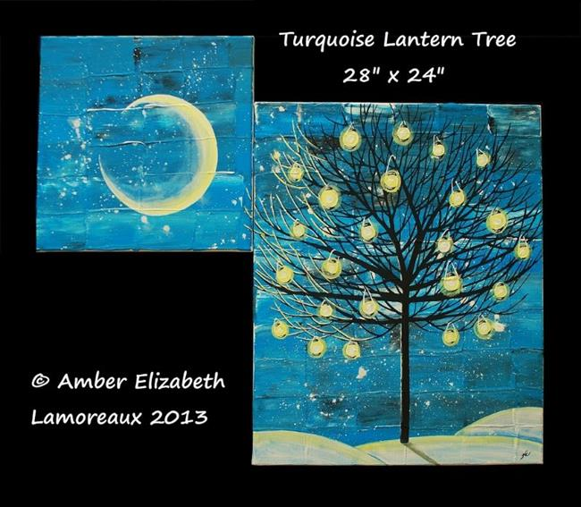 Art: Turquoise Lantern Tree (sold) by Artist Amber Elizabeth Lamoreaux