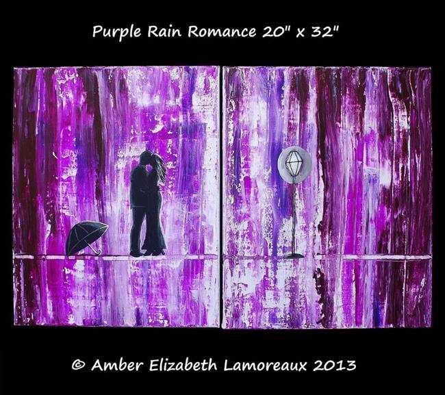 Art: Purple Rain Romance (sold) by Artist Amber Elizabeth Lamoreaux
