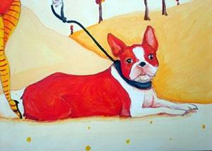 Detail Image for art devil girl in orange with boston terrier