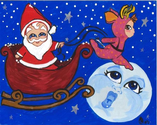 Art: santa and the dainty deer by Artist Noelle Hunt