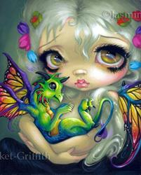 Art: Darling Dragonling IV ORIGINAL PAINTING by Artist Jasmine Ann Becket-Griffith