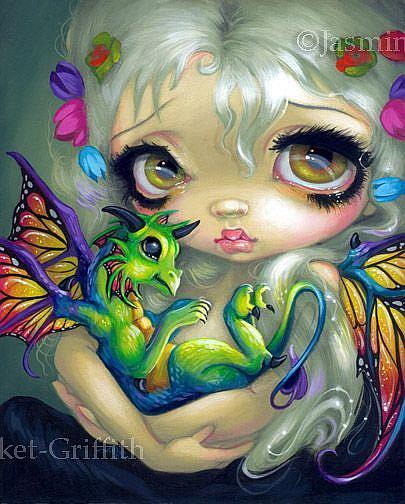 Art: Darling Dragonling IV ORIGINAL PAINTING by Artist Jasmine Ann Becket-Griffith