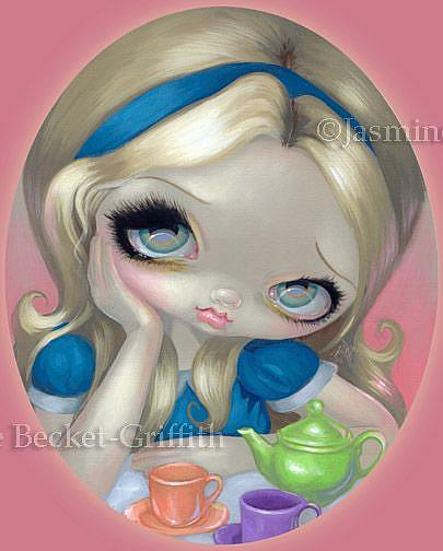Art: Alice's Tea Party ORIGINAL PAINTING by Artist Jasmine Ann Becket-Griffith