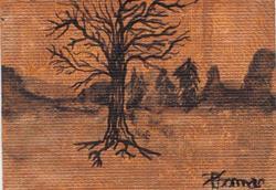 Art: Winter Tree on copper (sold) by Artist PJ Gorman