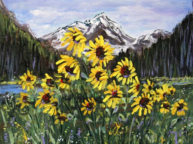 Art: San Franciso Peaks Sunflowers by Artist Diane Funderburg Deam