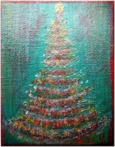 Art: LITTLE CHRISTMAS TREE-sold by Artist LUIZA VIZOLI