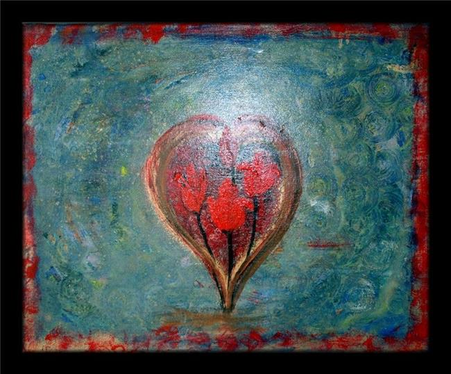 Art: HEART WITH RED FLOWERS by Artist LUIZA VIZOLI