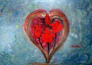 Detail Image for art HEART WITH RED FLOWERS