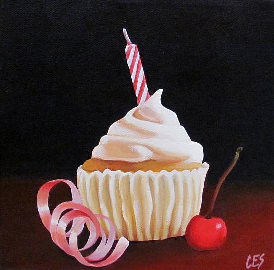 Art: Birthday Cupcake by Artist Christine E. S. Code ~CES~