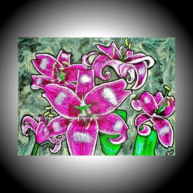 Art: Stargazer Lilies (sold) by Artist Amber Elizabeth Lamoreaux