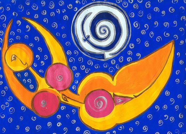 Art: Spiral fertility Goddess by Artist Noelle Hunt