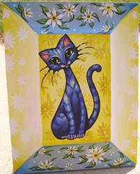 Art: Blue Cat and Flowers by Artist Nico Niemi