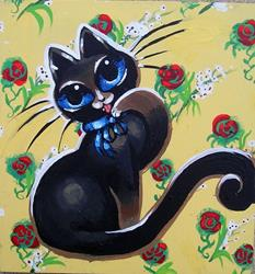 Art: Kitty with Roses by Artist Nico Niemi