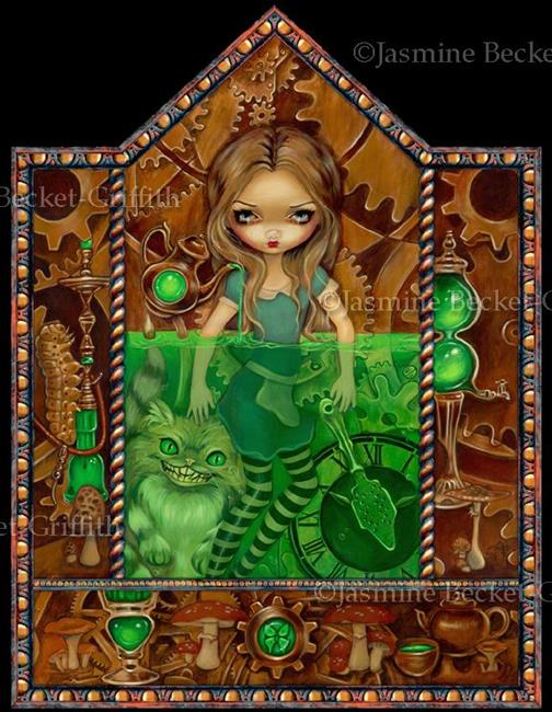Art: Steampunk Alice in Wonderland:  Alice in Absinthe by Artist Jasmine Ann Becket-Griffith