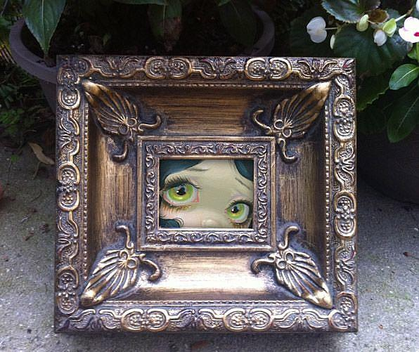 Art: Yellow Green Eyes Original MINI Painting by Artist Jasmine Ann Becket-Griffith