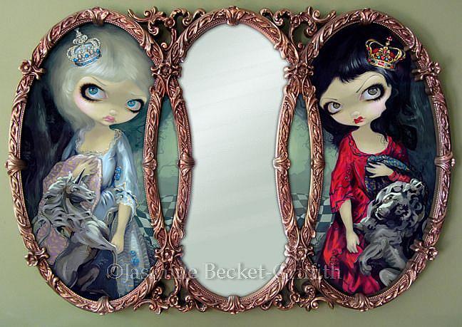 Art: Looking-Glass Queens (Framed Mirror Original Version) l by Artist Jasmine Ann Becket-Griffith