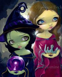 Art: Wicked Witch and Glinda ORIGINAL PAINTING by Artist Jasmine Ann Becket-Griffith