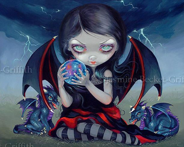 Art: Dark Dragonling ORIGINAL PAINTING by Artist Jasmine Ann Becket-Griffith