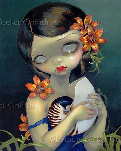 Art: Tiger Lily, Tiger Nautilus - ORIGINAL PAINTING by Artist Jasmine Ann Becket-Griffith