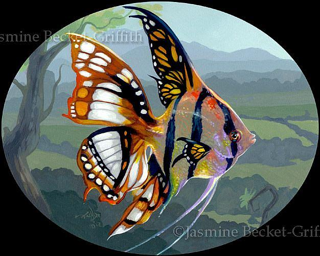Art: Poissons Volants: Etude I - ORIGINAL painting by Artist Jasmine Ann Becket-Griffith