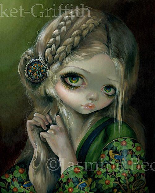 Art: Guinevere Had Green Eyes - original painting by Artist Jasmine Ann Becket-Griffith