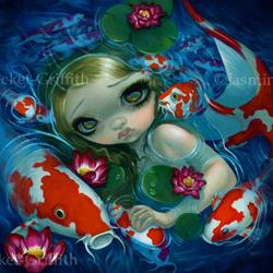 Art: Swimming with Koi - ORIGINAL by Artist Jasmine Ann Becket-Griffith