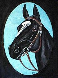 Art: Black Thoroughbred Horse by Artist Dia Spriggs