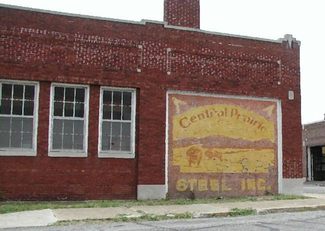 Art: Central Prairie Steel Building by Artist Peggi M Sargent