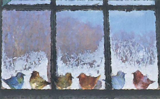 Art: Window Sil Birds by Artist Peggi M Sargent