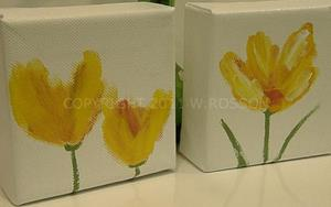Detail Image for art Two Yellow Flower paintings.