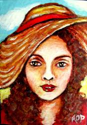 Art: ACEO:  'Sun Hat' by Artist Patience