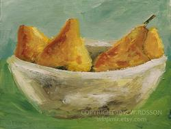 Art: Pears in white bowl by Artist Windi Rosson