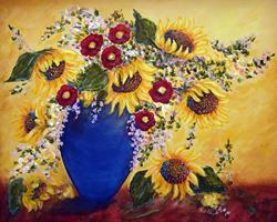 Art: Sunflowers in Cobalt Vase by Artist Diane Funderburg Deam