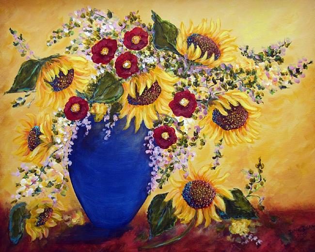 Art: Sunflowers in Cobalt Vase by Artist Diane Funderburg Deam