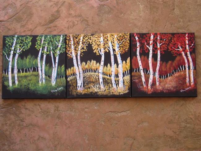 Art: Aspen Triptych by Artist Diane Funderburg Deam