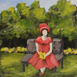 Art: Picking flowers in the Park by Artist Windi Rosson