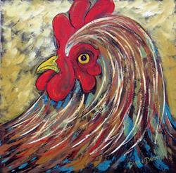 Art: Rooster 24 24 by Artist Diane Funderburg Deam