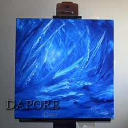 Art: Blue abstract art painting by Artist Theo Dapore